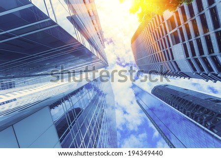 Modern glass building in Brisbane city  - stock photo
