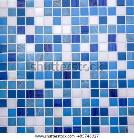 Modern glass mosaic tiles background, small mosaic texture, blue mosaic in bathroom, high quality resolution