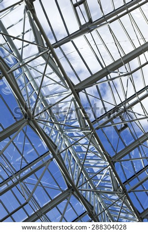 Modern glass roof in the hall of a building - stock photo