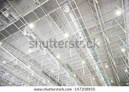 modern glass roof inside office center - stock photo