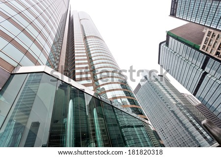 Modern glass silhouettes of skyscrapers in the city
