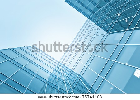 modern glass skyscraper perspective view