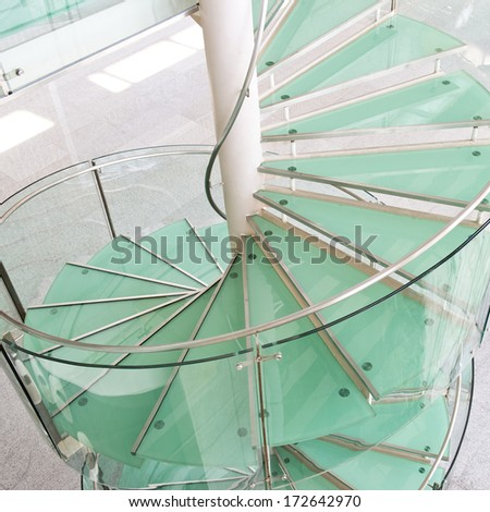 modern glass staircase in a conference center. - stock photo