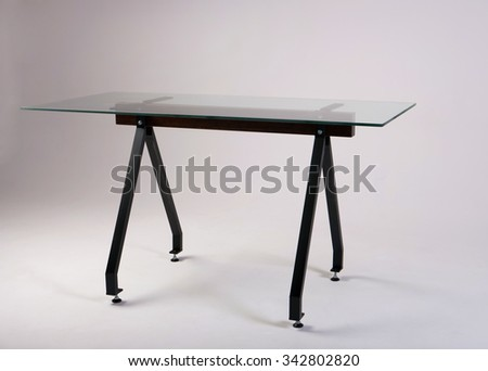 modern glass table studio shot  - stock photo