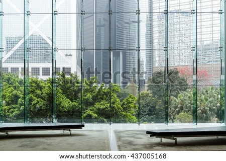 Modern glass wall of office building