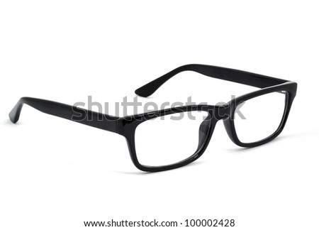 Modern glasses with reflection over white background - stock photo