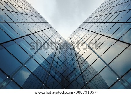 Modern Glassy Architecture Concept Illustration. Glassy Towers.