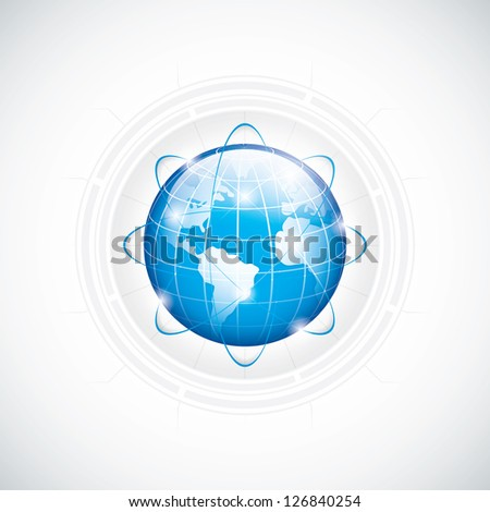 Modern globe connections network design - stock photo