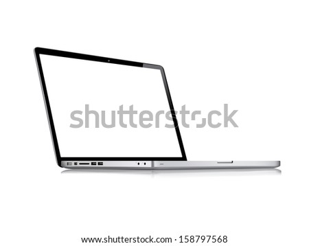 Modern glossy laptop isolated on white vector