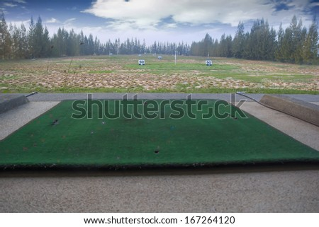 modern golf course driving range,golf practice fields in thailand - stock photo