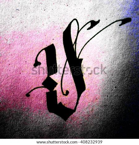 Modern Gothic Calligraphy Letter V