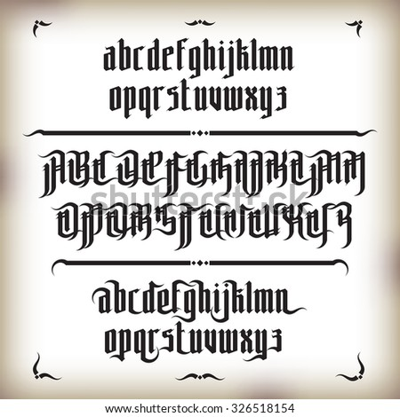 Modern Gothic Style Font. Gothic letters with decoration elements - stock photo