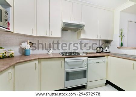 Modern gourmet kitchen interior - stock photo