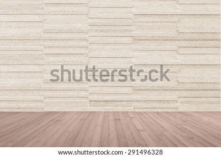 Modern granite tile wall pattern textured background in light cream beige brown color with wooden floor in red brown color tone : Horizontal stone tile wall pattern texture with wood flooring   - stock photo
