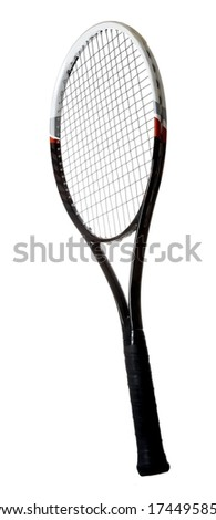Modern graphite tennis racket isolated on white background
