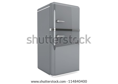 Modern gray refrigerator on a white background. - stock photo