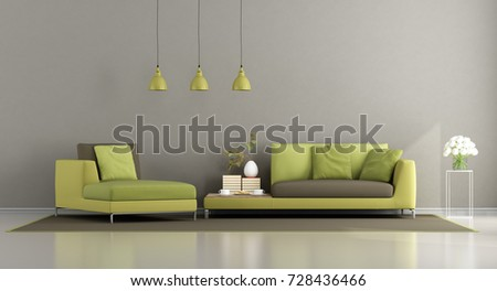 modern brown living room. Modern green and brown living room with sofa chaise lounge  3d rendering Green Brown Living Room Sofa Stock Illustration 728436466