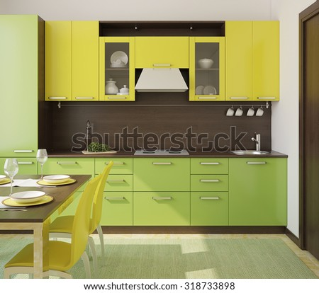 Modern green and yellow  kitchen. 3d render. - stock photo