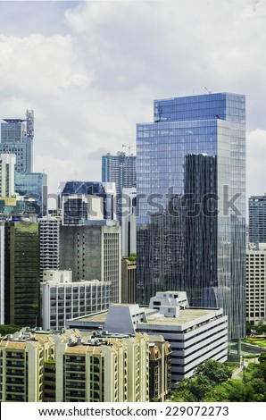 Modern green buildings in Makati City, Manila, Philippines