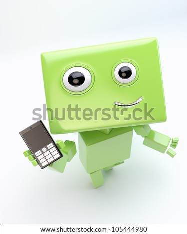 Modern green cyber toy that holds and show mobile phone/Lovely robot with mobile phone - stock photo