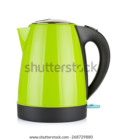 modern green electric kettle, isolated on white