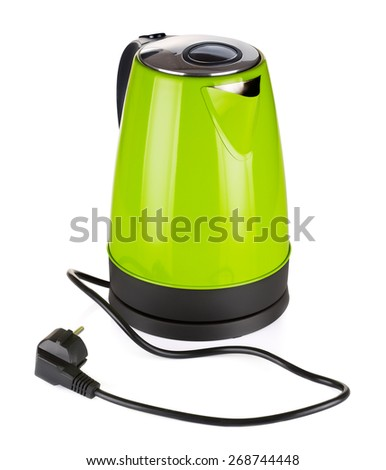 modern green electric kettle, isolated on white - stock photo