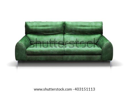 Modern green, leather sofa isolated on white background. Front view