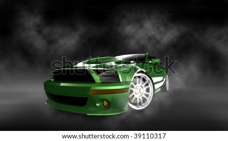 Modern green muscle sports car / sportscar with spinning tire in smoke filled studio