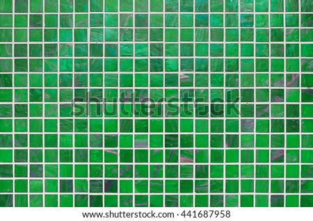 Modern green tile mosaic background texture. - stock photo