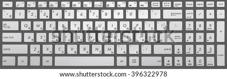 Modern grey and chrome keyboard isolated