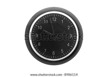 Modern grey clock isolated - stock photo