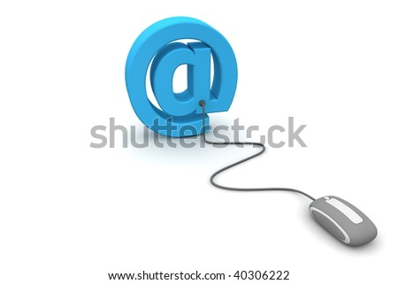modern grey computer mouse connected to the blue AT e-mail symbol
