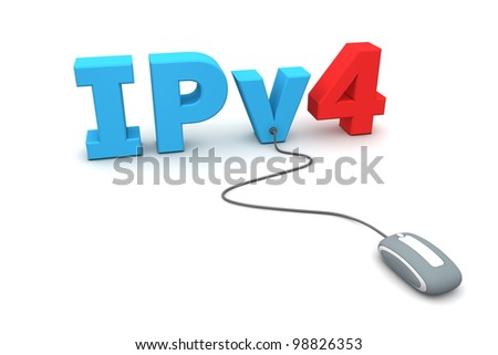 modern grey computer mouse is connected to the blue IPv4 - number four in red