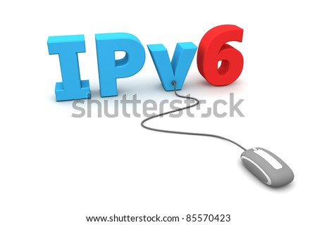 modern grey computer mouse is connected to the blue IPv6 - number six is red