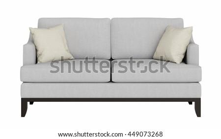 Modern grey sofa  isolated on white background - stock photo