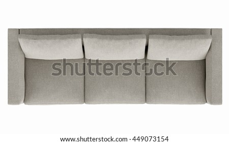 Modern grey sofa isolated on white background, top view - stock photo