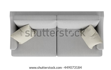 modern grey sofa ,top view, isolated on white background - stock photo
