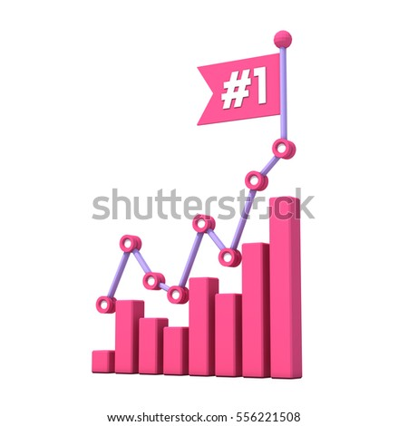 Modern growth bar chart with number 1 on the flag
