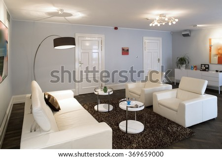 Modern guestroom interior in private house.  Studio.