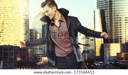 Modern guy over city background