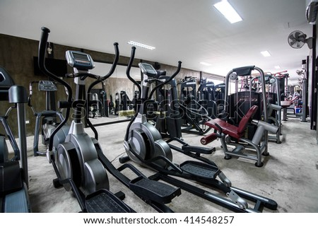 modern gym interior with equipment,Filter image