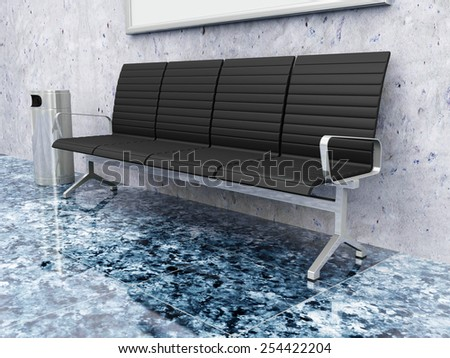 Modern Hall 3D Interior with Seats and Picture near the Concrete Wall. 3D Rendering - stock photo