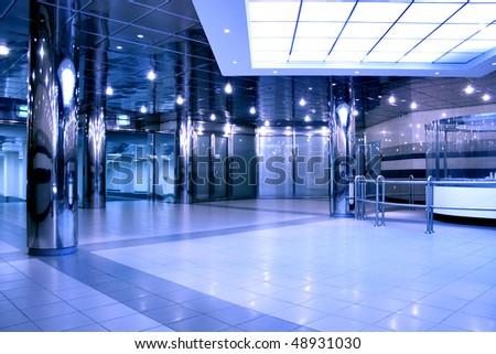 modern hall inside shopping mall - stock photo