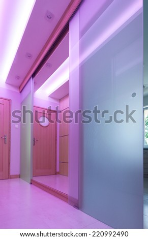 Modern hall with glass door and pink lighting - stock photo