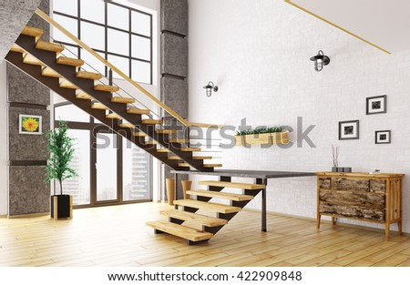 Modern hall with staircase interior 3d rendering