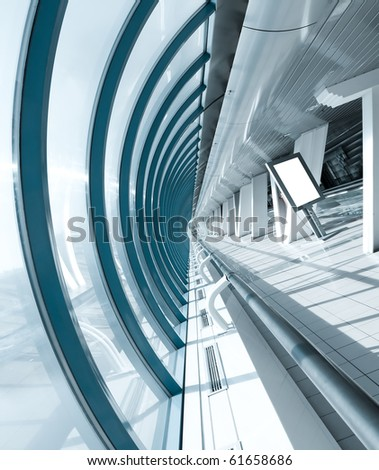 modern hall with white placard perspective view - stock photo