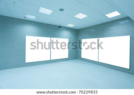 modern hall with white placards - stock photo