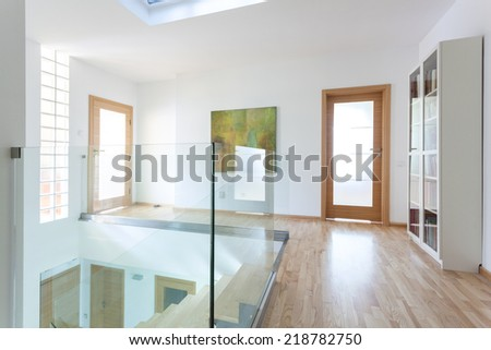 Modern hallway on the attic from the inside - stock photo