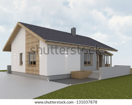 Modern hause with tarrace.Computer visuaization. - stock photo