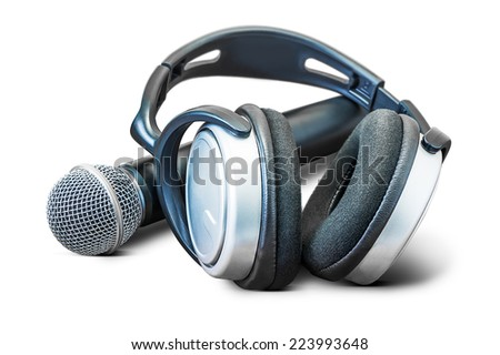 Modern headphone and microphone isolated on white background - stock photo
